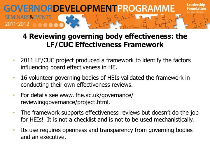 4 Reviewing governing body effectiveness: the LF/CUC Effectiveness Framework