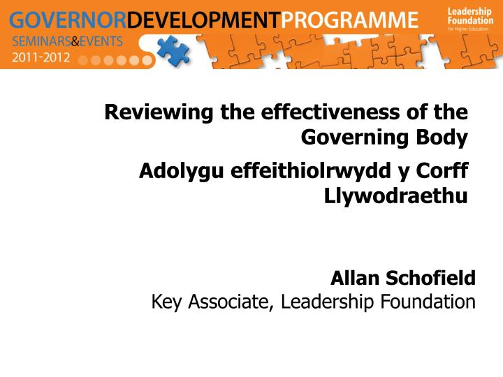 Reviewing the effectiveness of the Governing Body