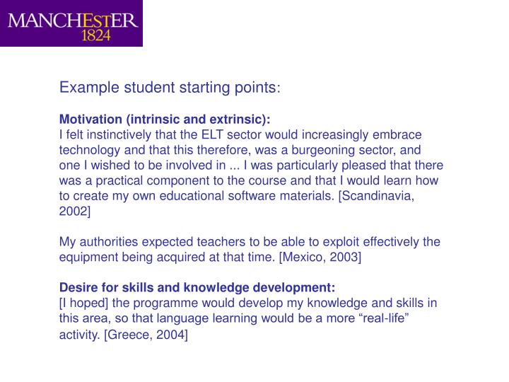 Example student starting points