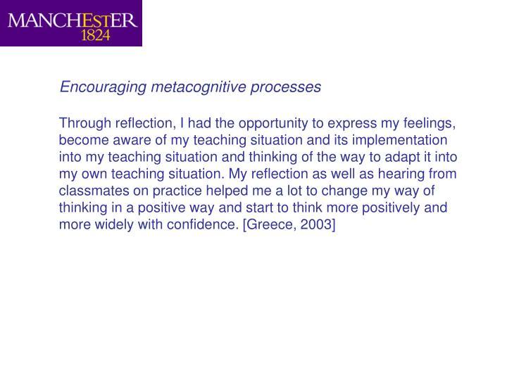 Encouraging metacognitive processes