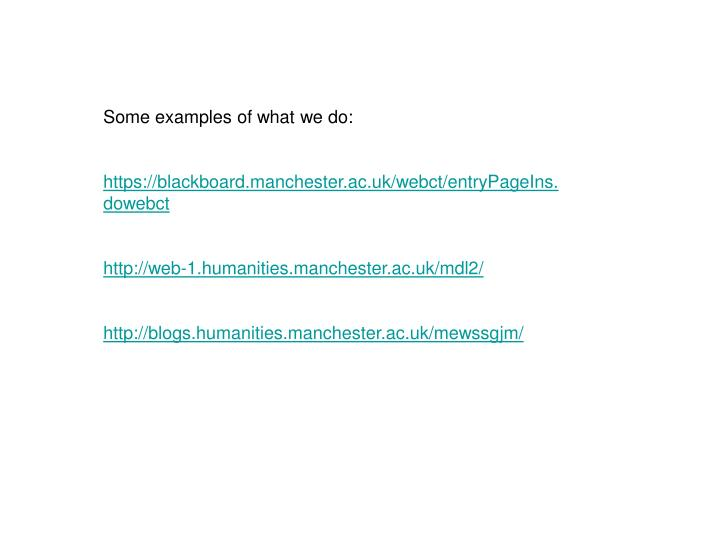 Some examples of what we do: