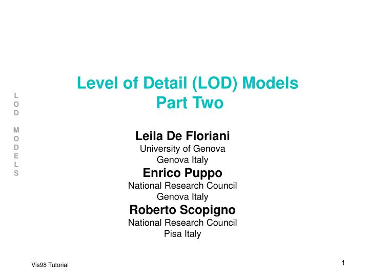 level of detail lod models part two n.