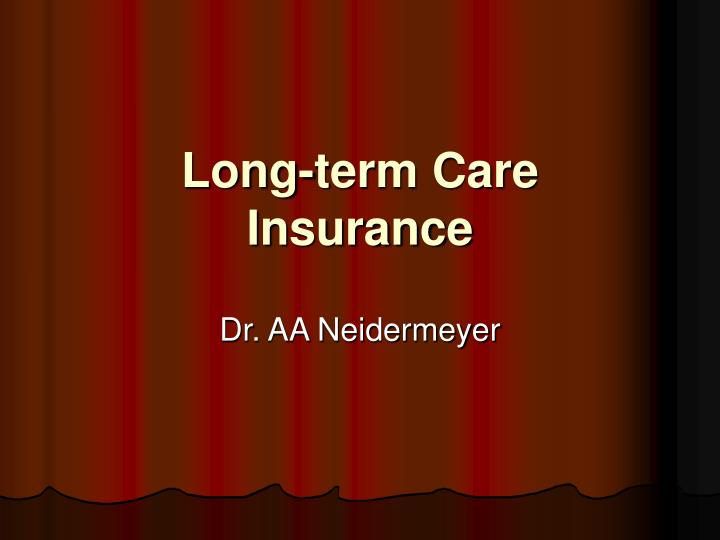 long term care insurance n.