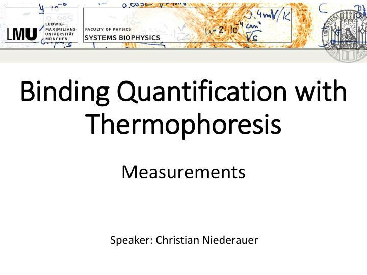 binding quantification with thermophoresis n.