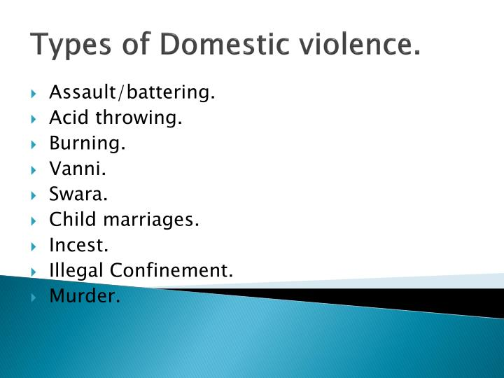 Types of Domestic violence.
