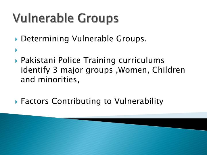 Determining Vulnerable Groups.