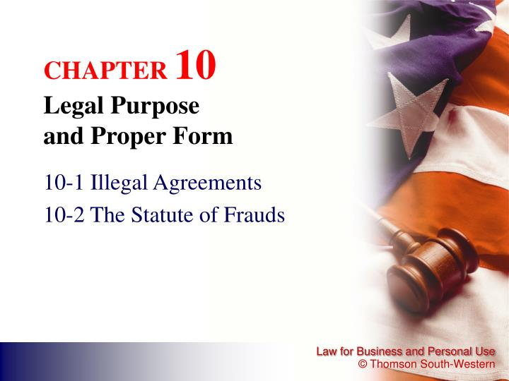 chapter 10 legal purpose and proper form n.