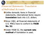 financial statements translation of individual accounts