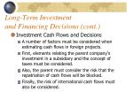 long term investment and financing decisions cont