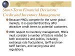 short term financial decisions credit and inventory management