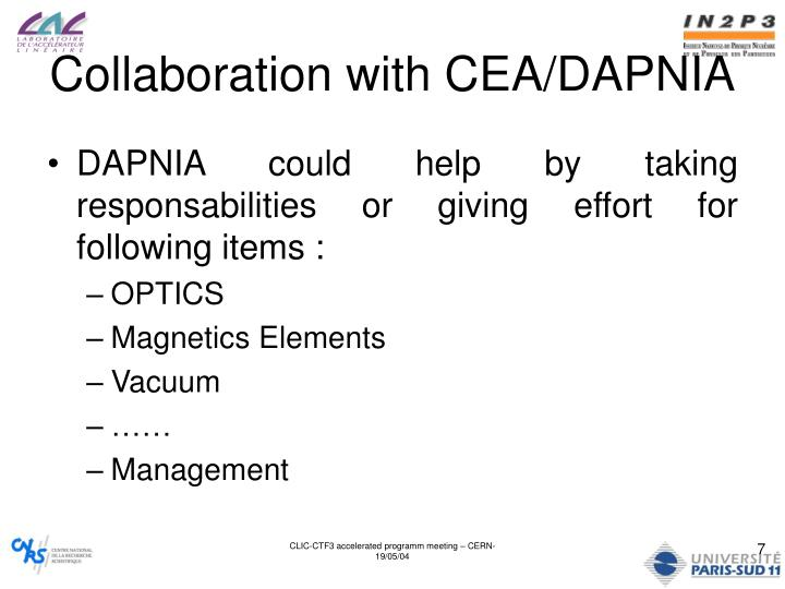 Collaboration with CEA/DAPNIA