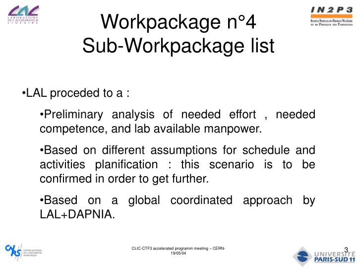 Workpackage n 4 sub workpackage list