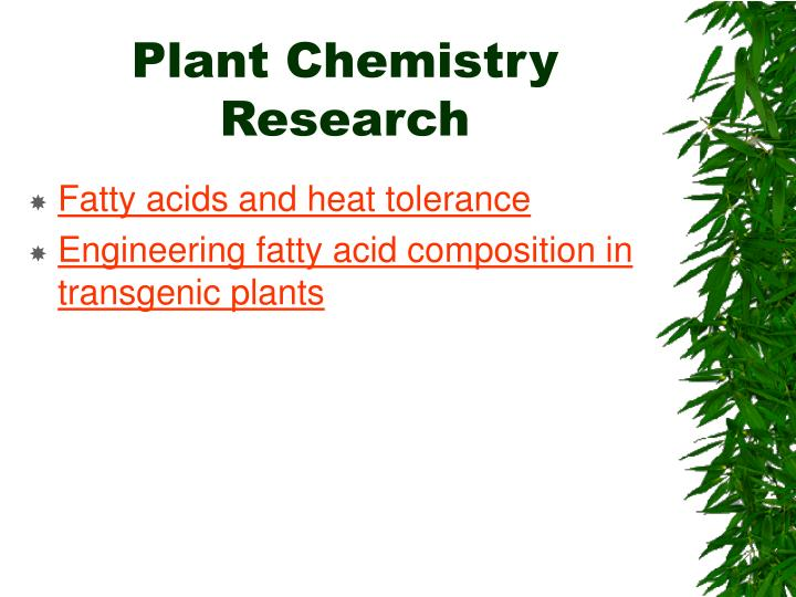 Plant Chemistry Research