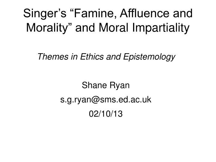 Famine, Affluence, and Morality Summary & Study Guide Description