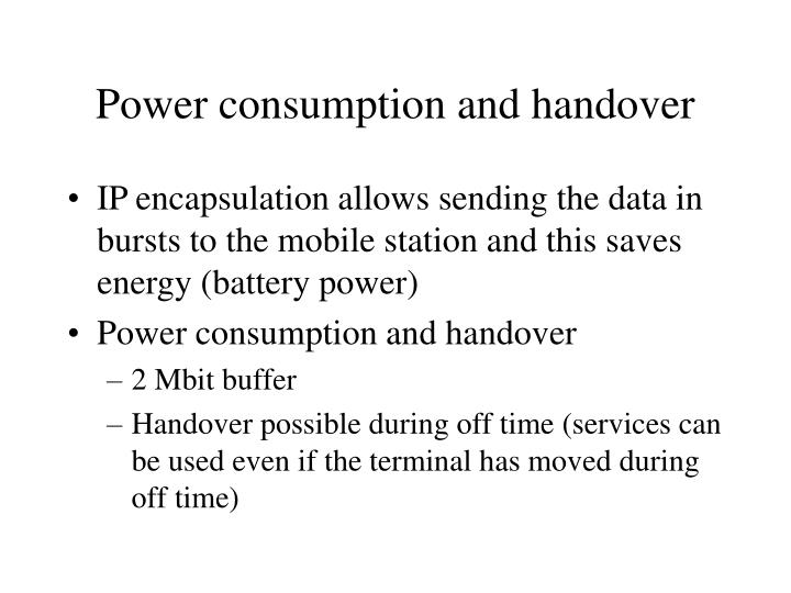 Power consumption and handover