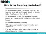 how is the listening carried out