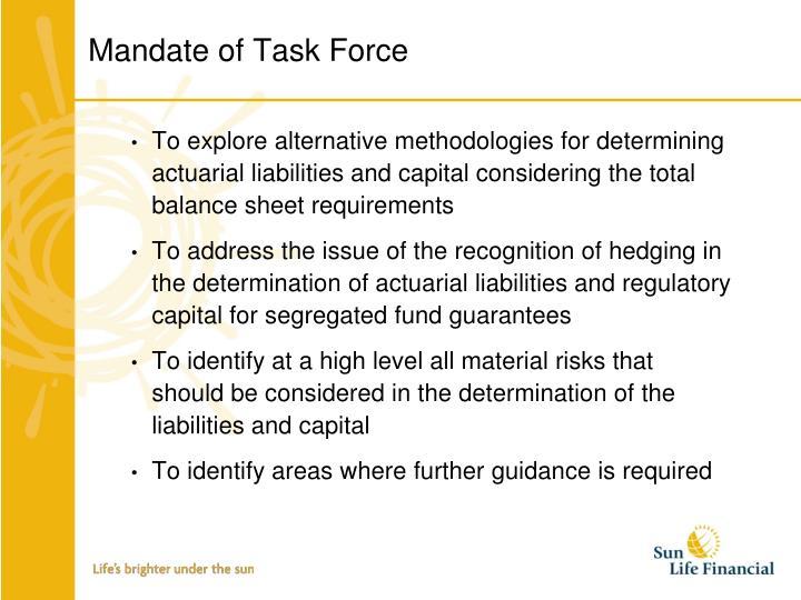 Mandate of Task Force