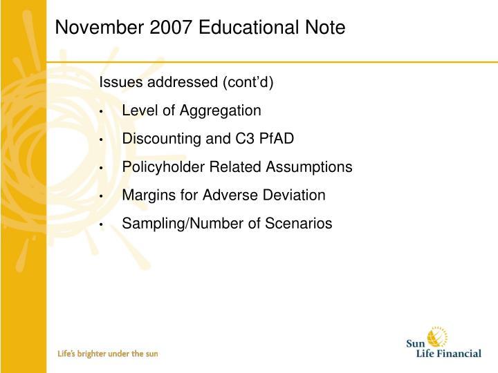 November 2007 Educational Note