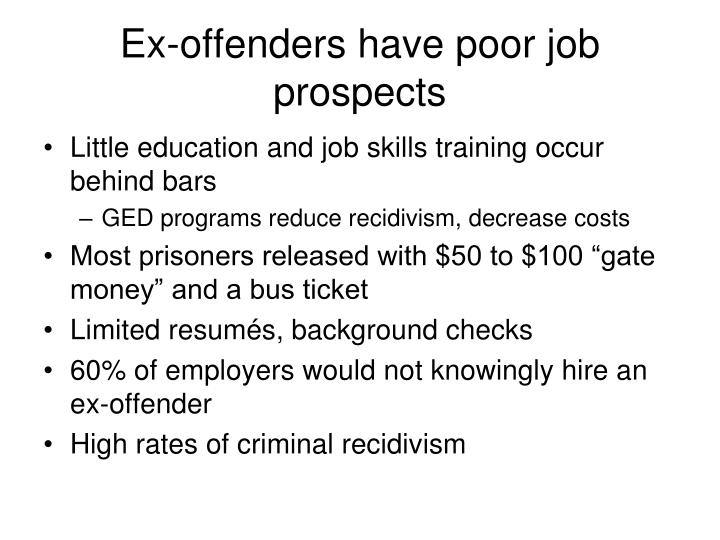 Ex-offenders have poor job prospects