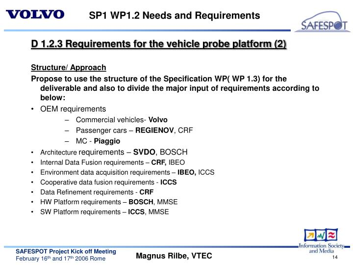 SP1 WP1.2 Needs and Requirements