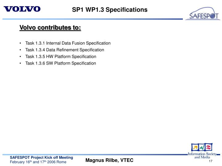 SP1 WP1.3 Specifications