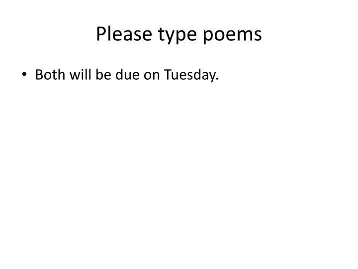 Please type poems
