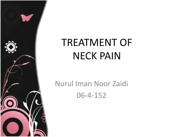 treatment of neck pain n.