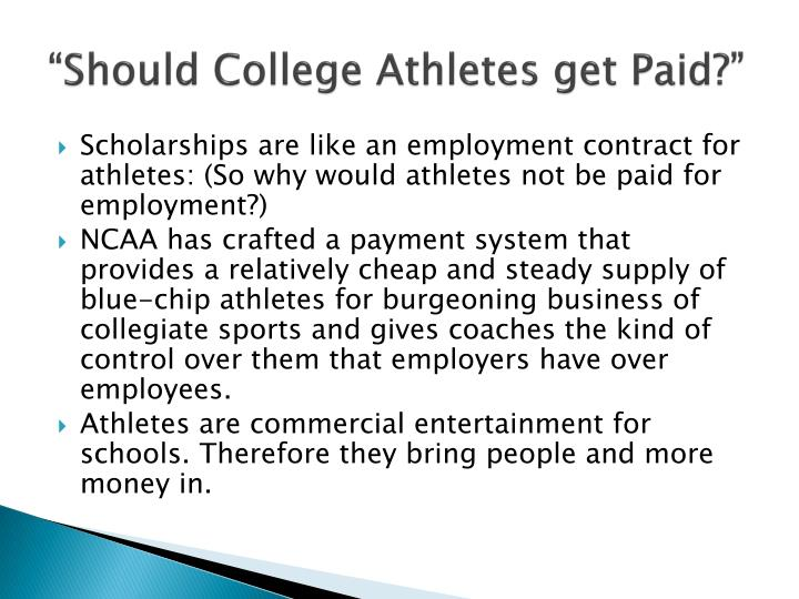athletes should not be paid as