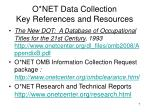 o net data collection key references and resources