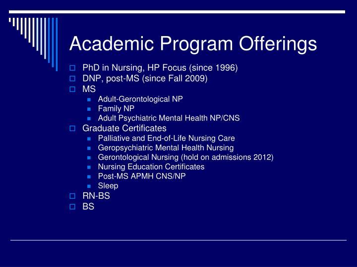 Academic Program Offerings
