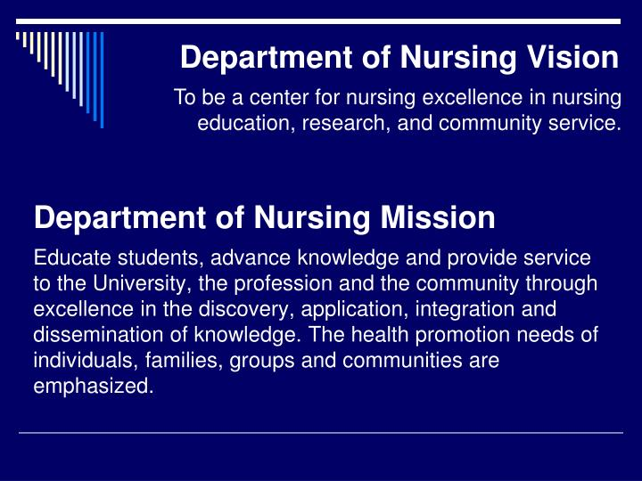 Department of Nursing Mission