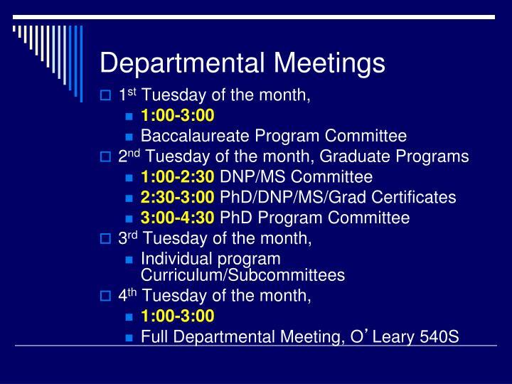 Departmental Meetings