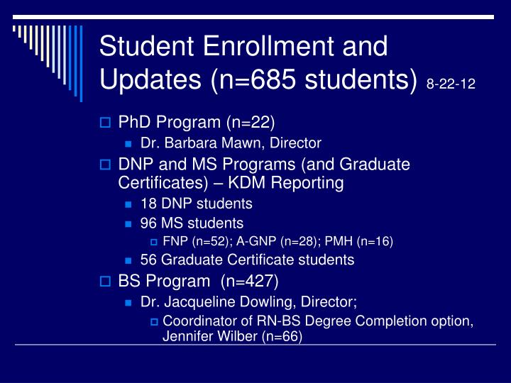 Student Enrollment and Updates (n=685 students)