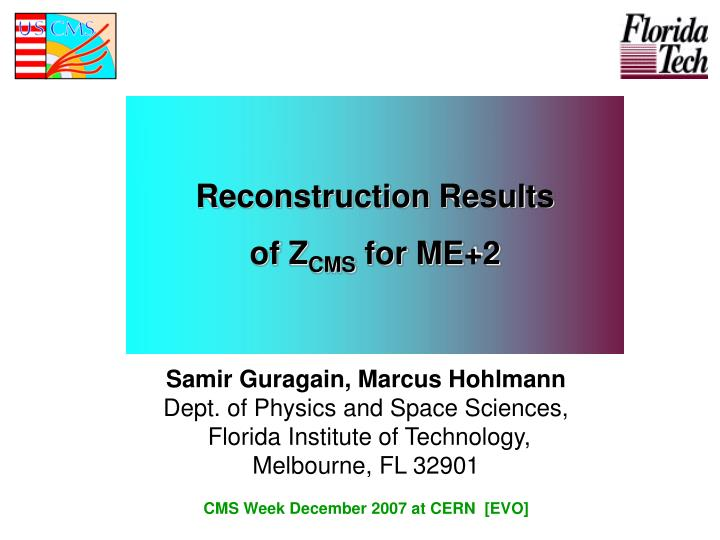 reconstruction results of z cms for me 2