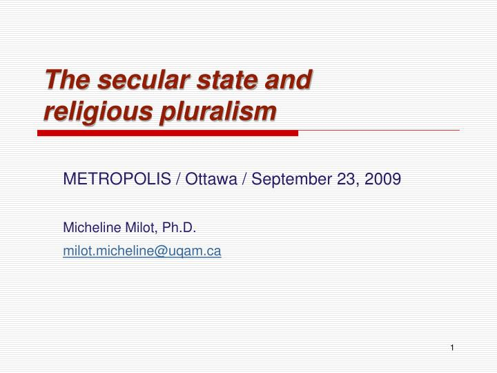 the secular state and religious pluralism n.