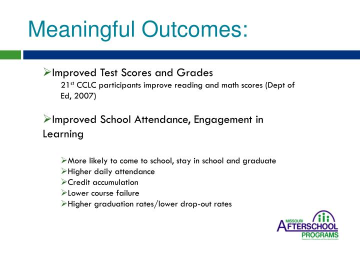 Meaningful Outcomes: