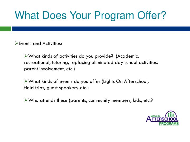 What Does Your Program Offer?