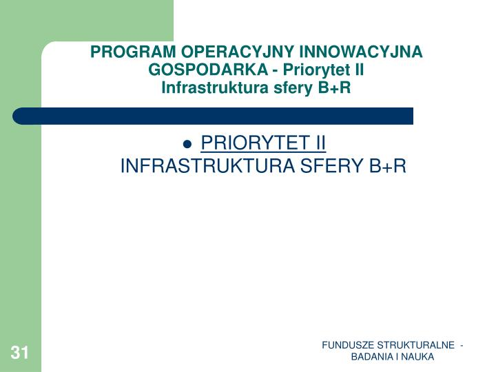PROGRAM OPERACYJNY INNOWACYJNA GOSPODARKA - Priorytet II