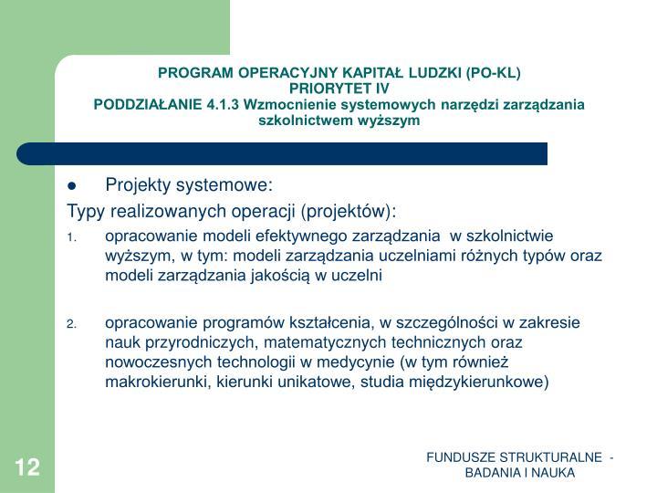 PROGRAM OPERACYJNY KAPITAŁ LUDZKI (PO-KL)