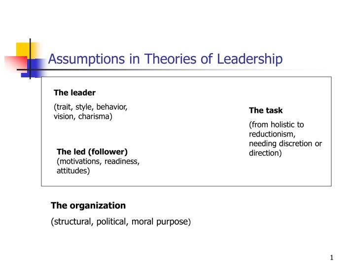 Assumptions in theories of leadership