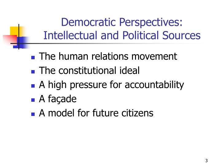 Democratic perspectives intellectual and political sources