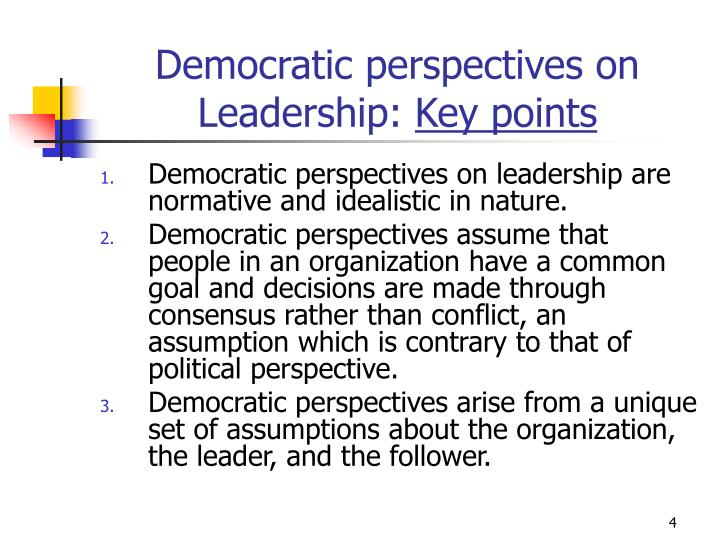 Democratic perspectives on Leadership: