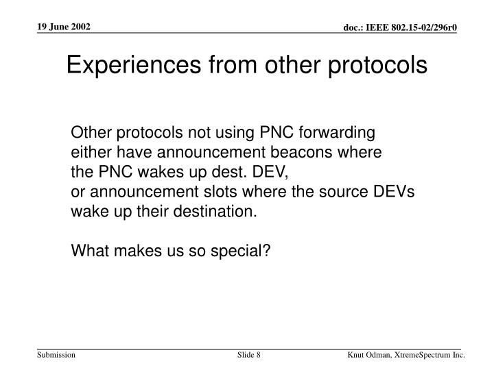 Experiences from other protocols