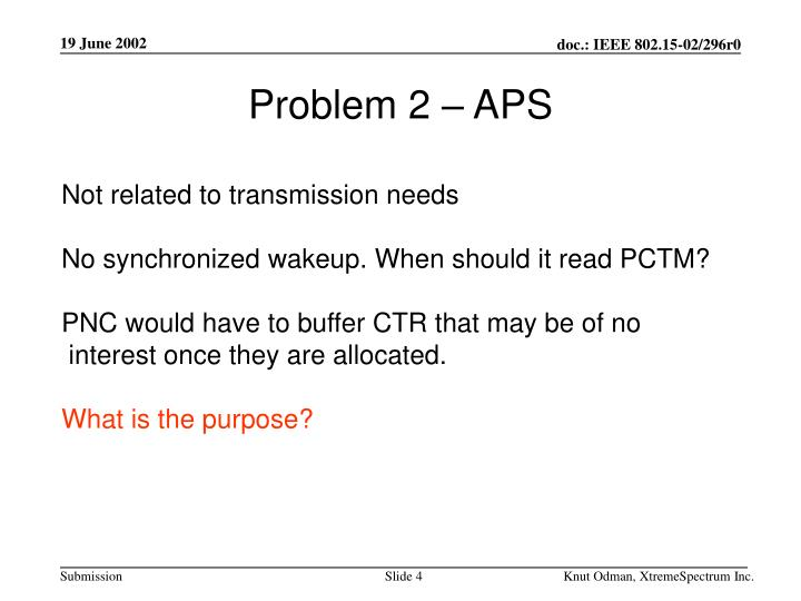 Problem 2 – APS