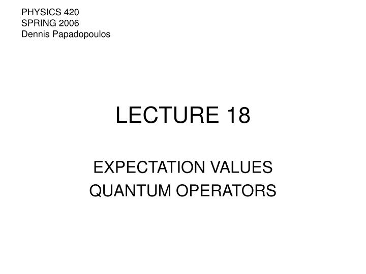 Lecture 18