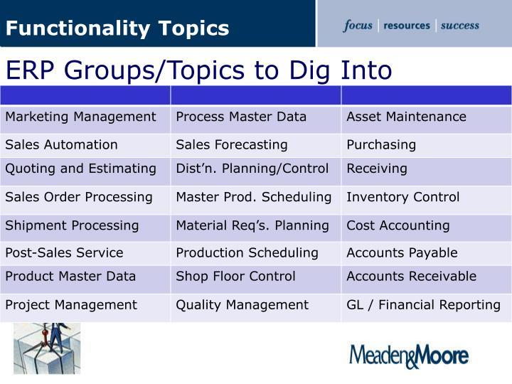Functionality Topics