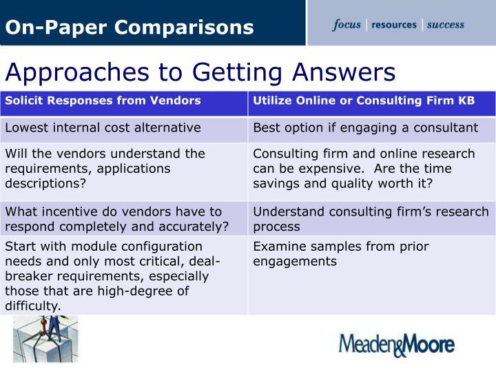 On-Paper Comparisons