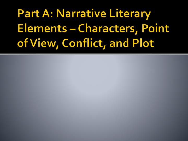 Part a narrative literary elements characters point of view conflict and plot