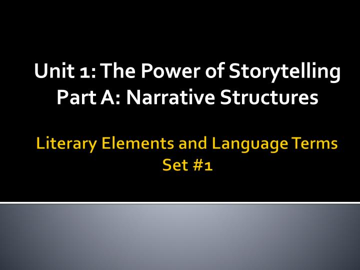 Unit 1 the power of storytelling part a narrative structures