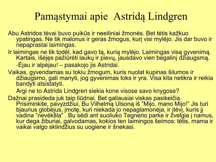 Pamąstymai apie  Astridą Lindgren